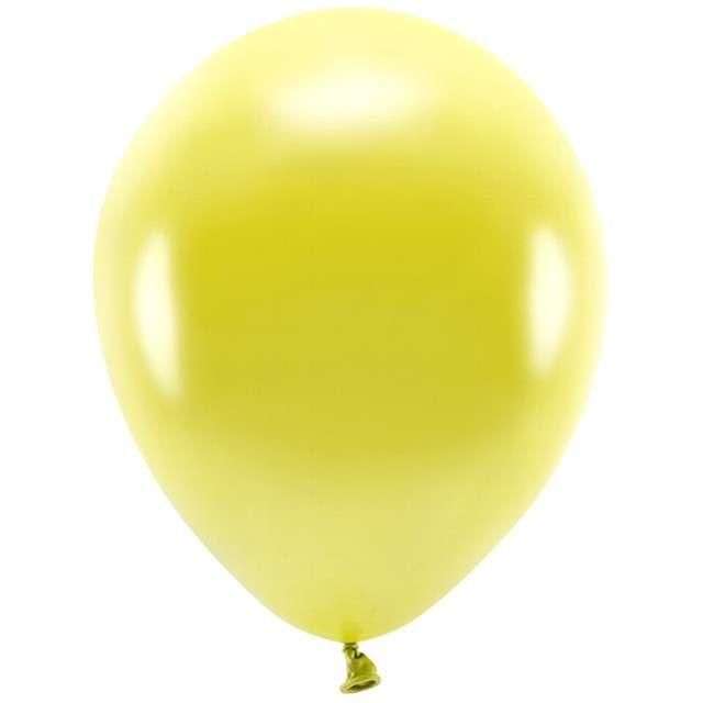 """Balony """"Ekologiczne"""", żółty metalik, Partydeco, 12"""", 100 szt"""