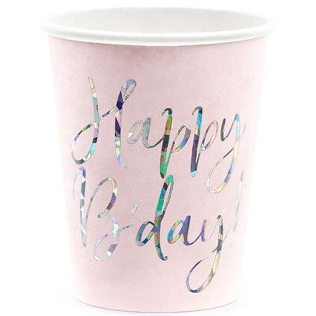 """Kubeczki papierowe """"Happy Birthday - Holo"""", róż pudrowy, 220ml, Partydeco"""