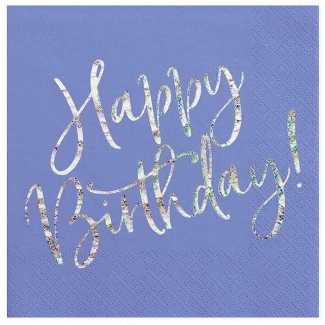 """Serwetki """"Happy Birthday"""", granatowy, Partydeco , 33cm"""