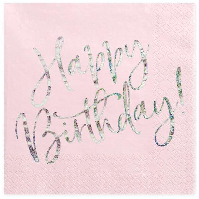 """Serwetki """"Happy Birthday"""", różowy pudrowy, Partydeco, 33cm"""