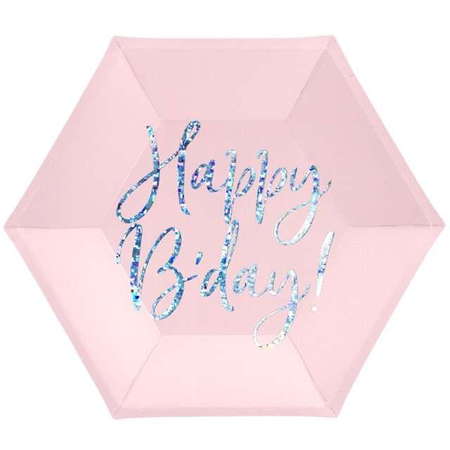 """Talerzyki """"Happy Birthday"""", różowy pudrowy, Partydeco, 20cm"""