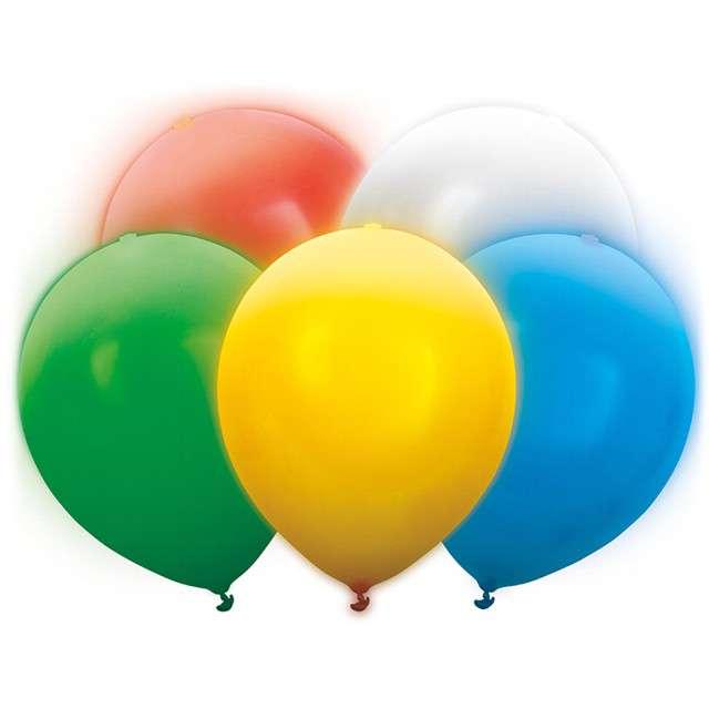 """Balony """"LED mix"""", Partydeco, 30 cm, 5 szt"""