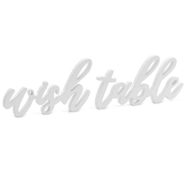 """Napis """"Wish Table"""", biały, PartyDeco, 1 szt"""