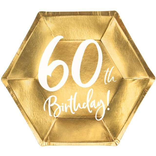 """Talerzyki """"60th Birthday"""", złote, PartyDeco, 6 szt"""