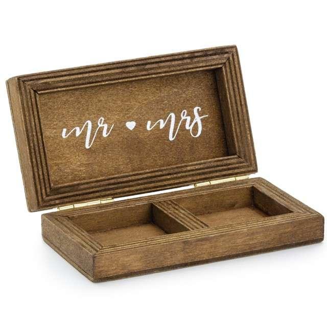 """Pudełko na obrączki """"Drewniane"""", naturalny, PartyDeco, 10x5,5cm"""