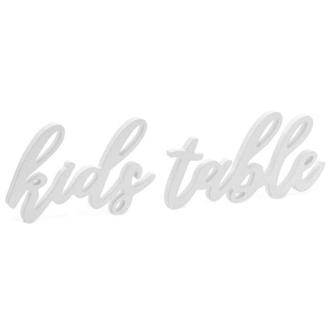 """Napis drewniany """"Kids table"""", biały, PartyDeco, 1szt"""