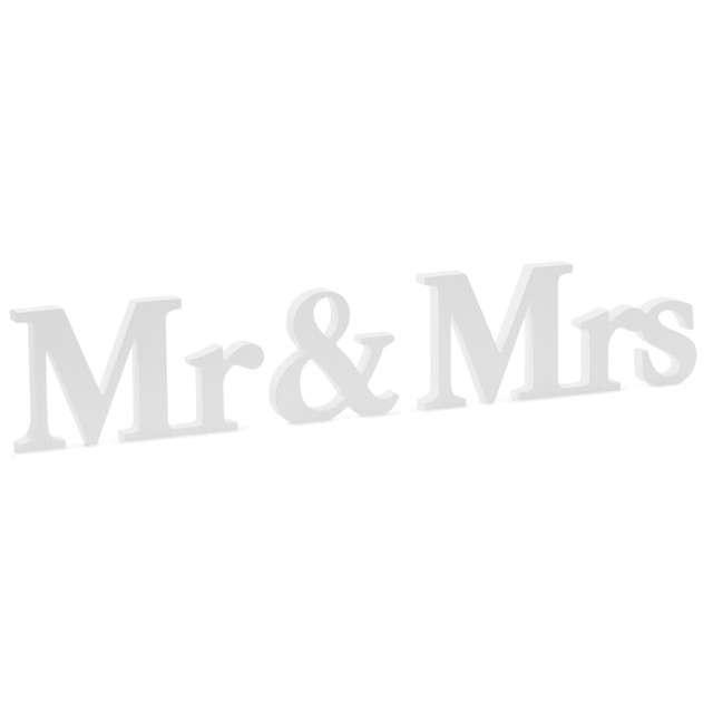 """Drewniany napis """" Mr Mrs"""", biały, PartyDeco, 3szt"""