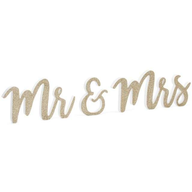 """Drewniany napis """"Mr Mrs"""", biały, PartyDeco, 1 kpl"""