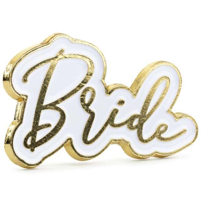 """Przypinka """"Bride"""", złoty, PartyDeco, 1szt"""