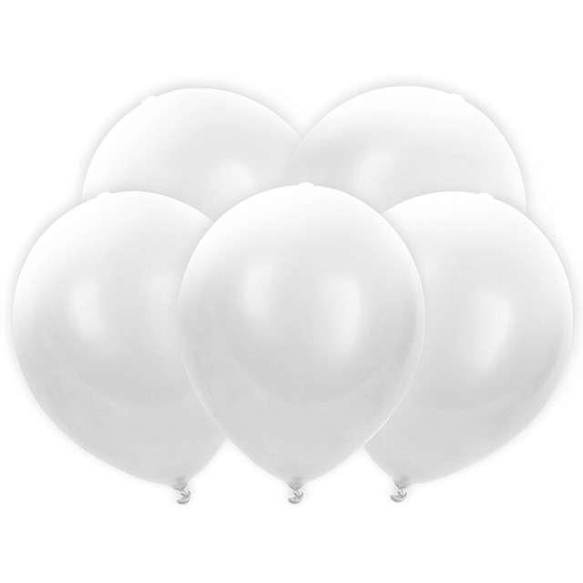 """Balony """"Led"""", białe, PartyDeco, 30 cm, 5 szt"""