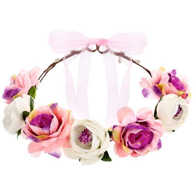"""Wianek """"Róże"""" ,rózowo-biały,  PartyDeco 17 cm"""
