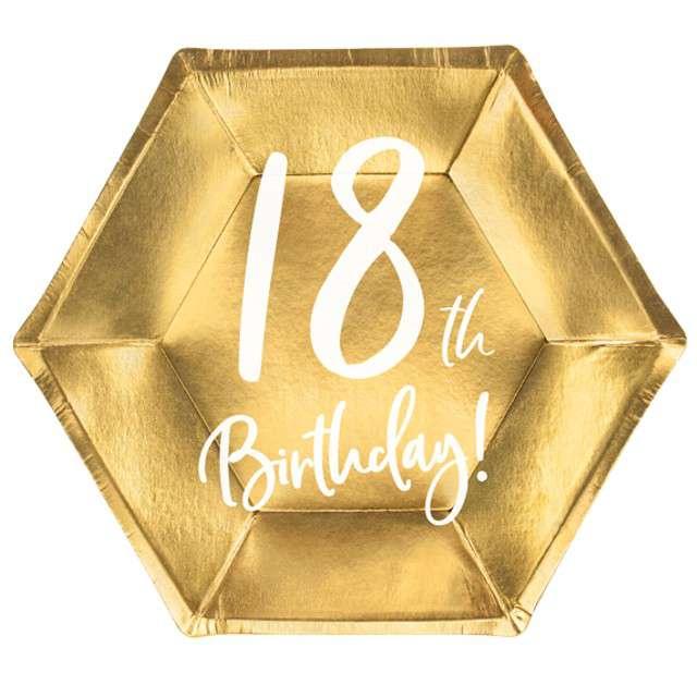 """Talerzyki """"18th Birthday"""", złoty, PartyDeco, 6 szt."""