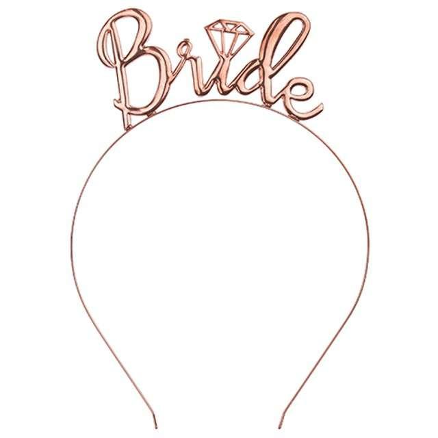 "Opaska ""Bride"", różowe złoto, PartyDeco 1 szt"