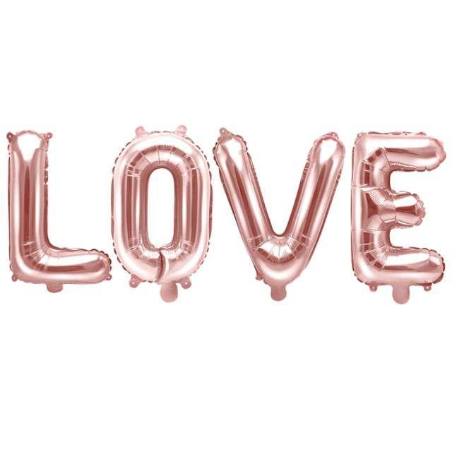"""Balon foliowy """"Love"""", różowe złoto, Widmann, 140x35 cm"""