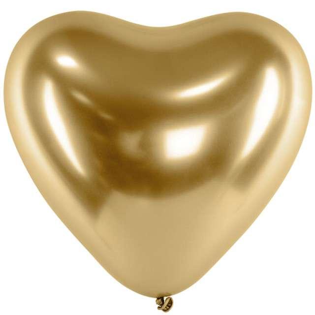 """Balony """"Glossy - serce"""", złote, Partydeco, 12"""", 50 szt"""