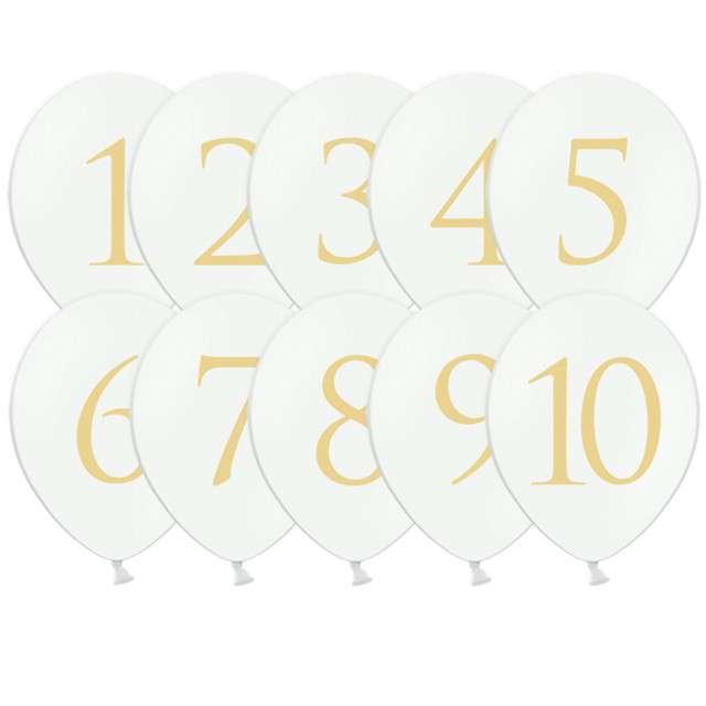"""Balony """"Cyfry"""", białe, PartyDeco, 30cm"""