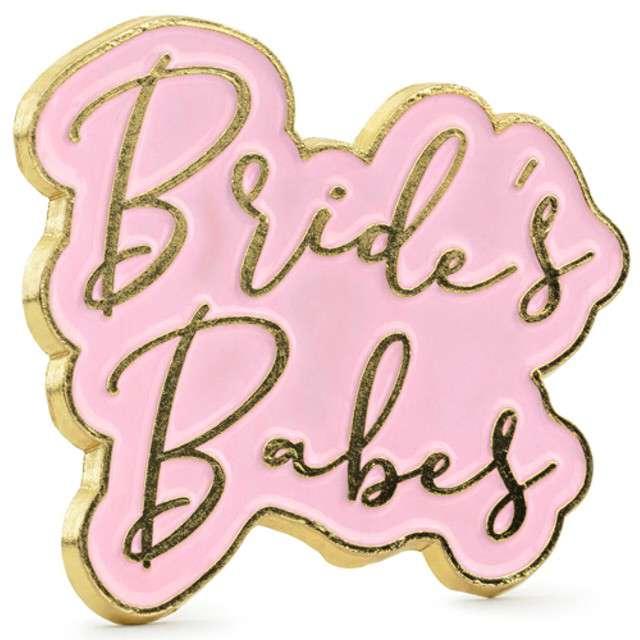 """Przypinka """"Brides Babes"""", różowa, PartyDeco, 3.5x3cm"""