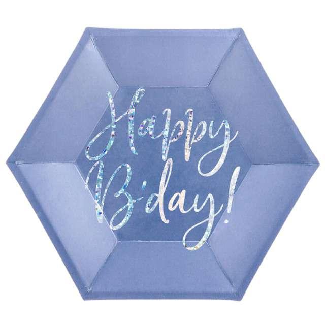 """Talerzyki """"Happy Birthday"""" , granatowe, PartyDeco, 6szt"""