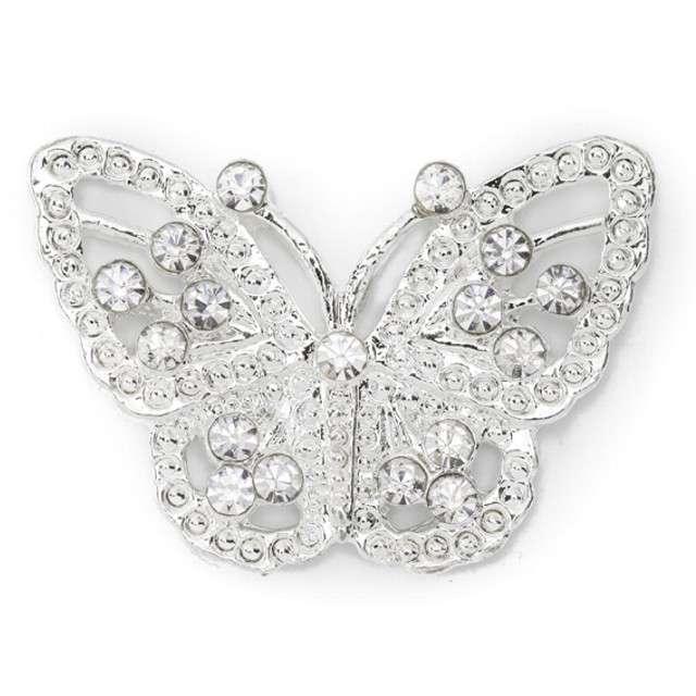 Aplikacja ozdobna Motylki srebrny PartyDeco20x30mm 2szt