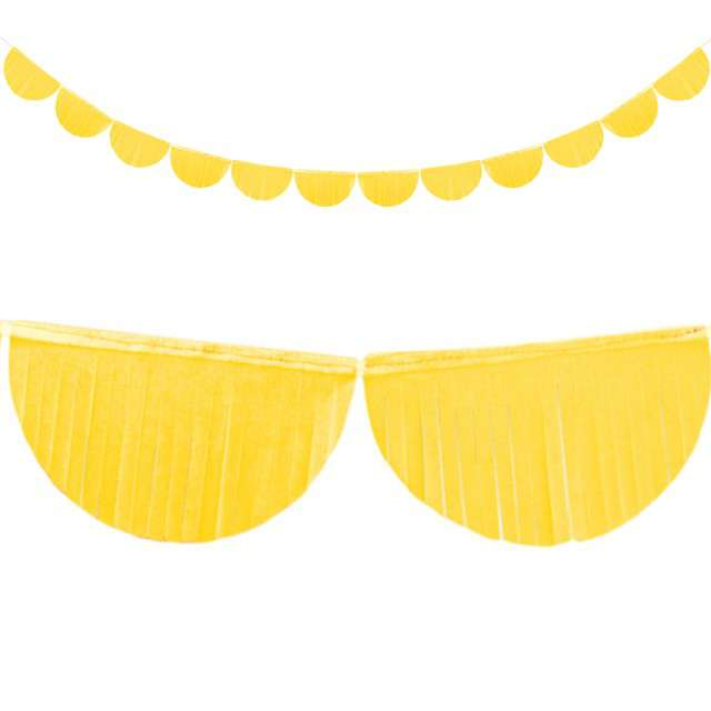 "Girlanda bibułowe ""Frędzle"", żółta, PartyDeco, 3m"