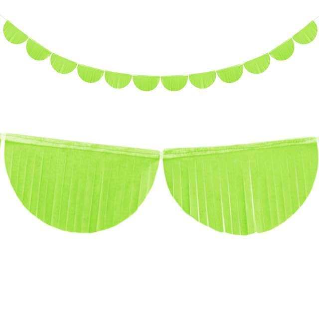 """Girlanda bibułowe """"Frędzle"""", zielone jabłuszko, PartyDeco, 3m"""