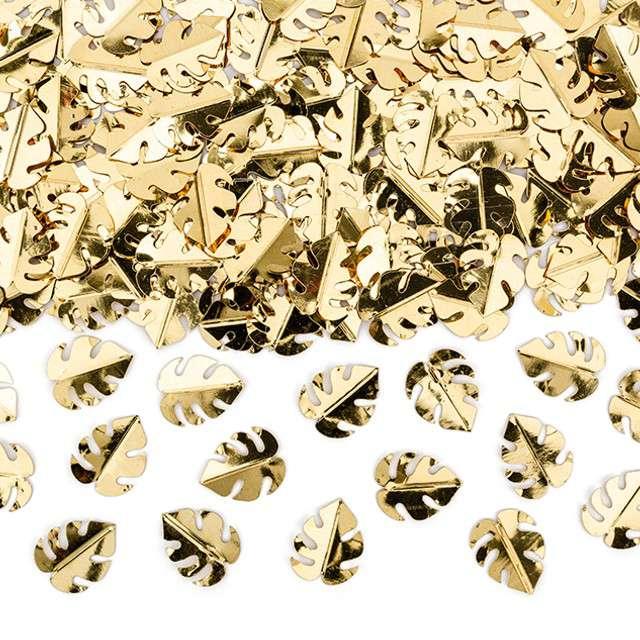 """Konfetti """"Liście Monstery metalizowane"""", złote, Partydeco, 15g"""