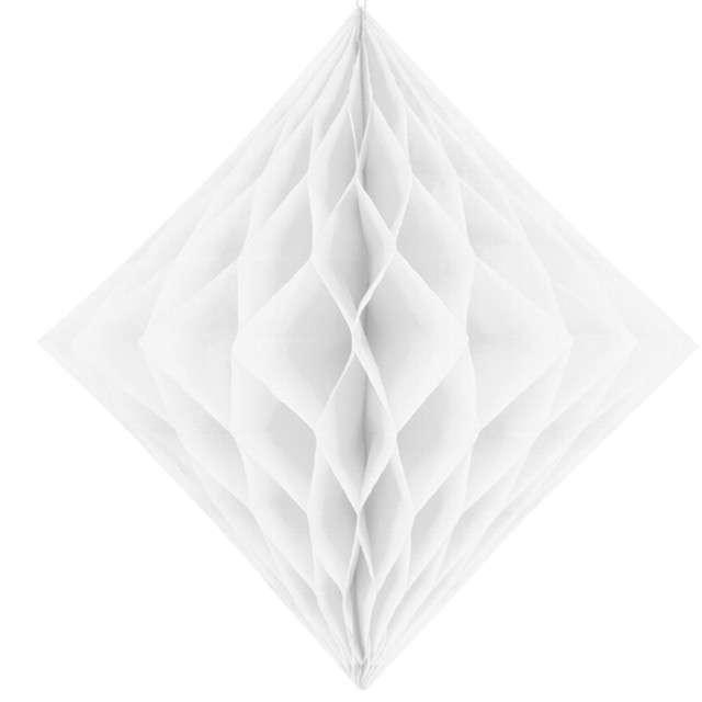 """Diament bibułowy """"Classic HoneyComb"""" , biały,  PartyDeco, 20cm"""