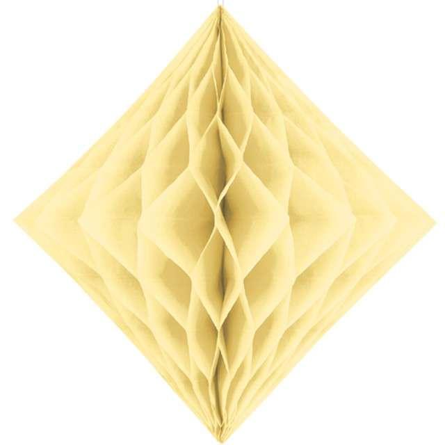 """Diament bibułowy """"Classic HoneyComb"""" kremowy, PartyDeco 20cm"""