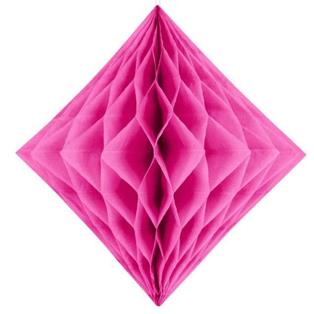 """Diament bibułowy """"Classic HoneyComb"""", różowy ciemny, PartyDeco 30cm"""