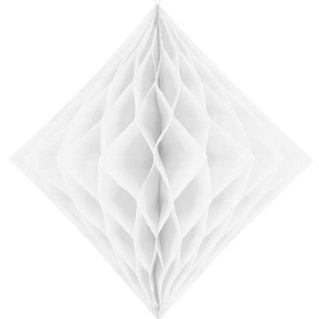 """Diament bibułowy """"Classic HoneyComb"""", biały, PartyDeco 30cm"""
