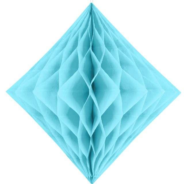 """Diament bibułowy """"Classic HoneyComb"""", błękit jasny , PartyDeco, 30cm"""