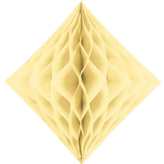 """Diament bibułowy """"Classic HoneyComb"""", kremowy, PartyDeco, 30cm"""