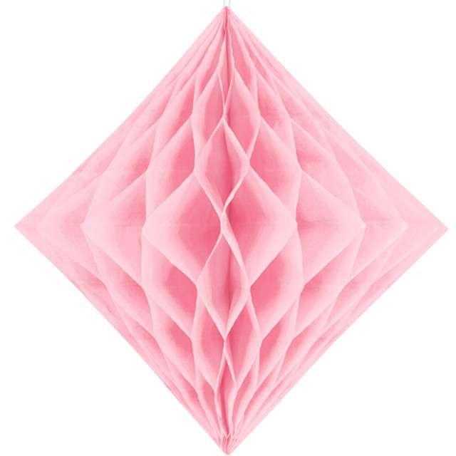 """Diament bibułowy """"Classic HoneyComb"""", różowy jasny, PartyDeco 30cm"""