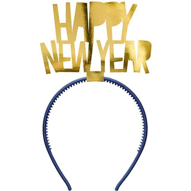 """Opaska """"Happy New Year"""", złota, PartyDeco, 1 szt"""