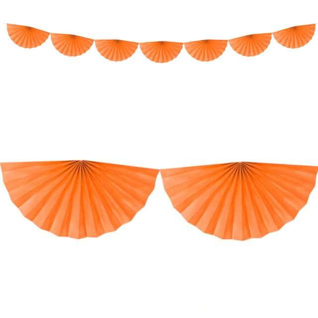 """Girlanda bibułowa """"Rozety"""", pomarańczowa, Partydeco, 300 cm"""