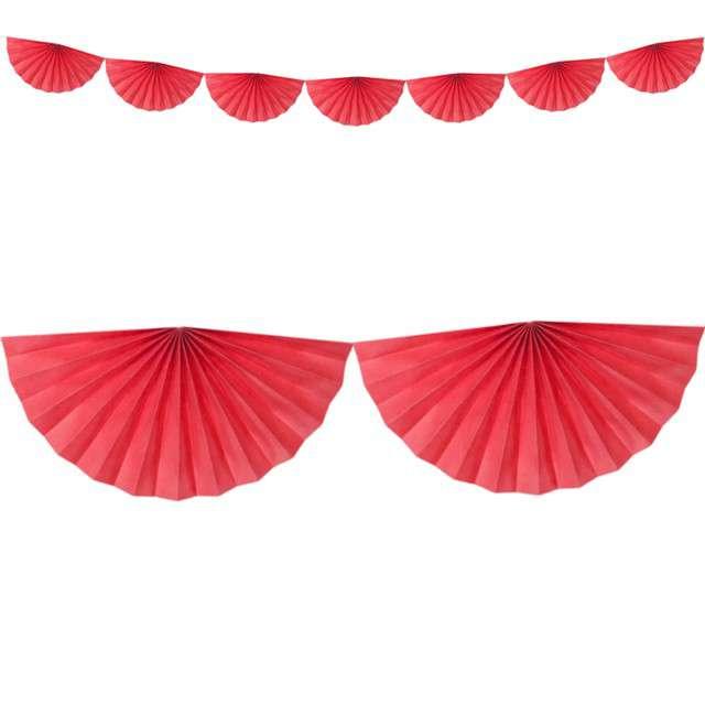"""Girlanda bibułowa """"Rozety"""", czerwona, Partydeco, 300 cm"""