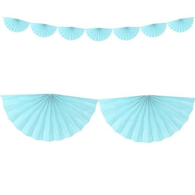 """Girlanda bibułowa """"Rozety"""", błękitna jasna, Partydeco, 300 cm"""