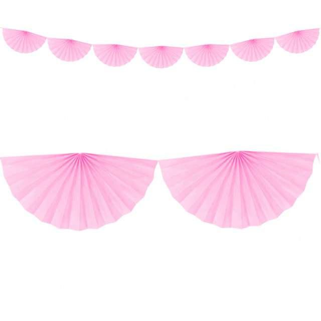 """Girlanda bibułowa """"Rozety"""", różowa jasna, Partydeco, 300 cm"""