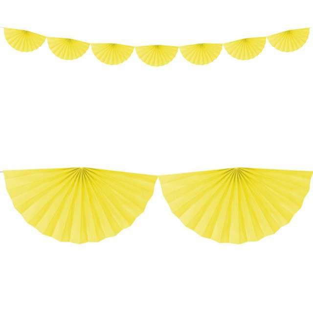"""Girlanda bibułowa """"Rozety"""", żółta, Partydeco, 300 cm"""