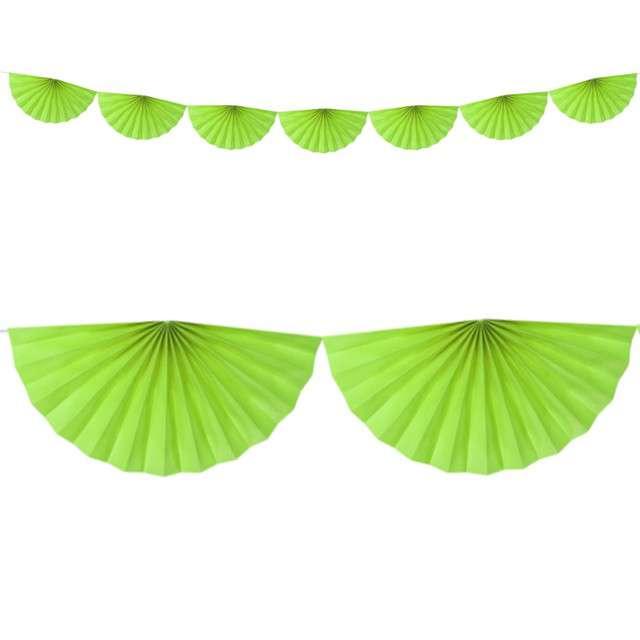 """Girlanda bibułowa """"Rozety"""", zielone jabłuszko, Partydeco, 300 cm"""