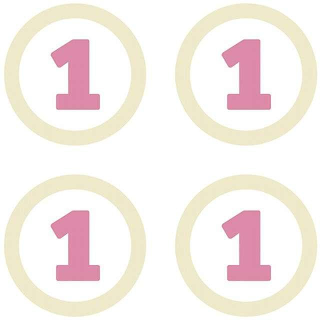 Dekoracje Roczek różowy PartyDeco 4szt