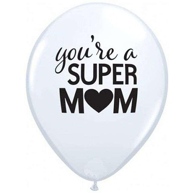 """Balon """"Dzień matki - Youre Super Mom"""", biały, Qualatex, 11"""", 25 szt"""