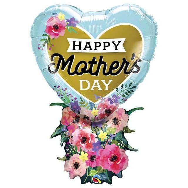 """Balon foliowy """"Happy Mothers Day - Bukiet  na Dzień Matki"""", QUALATEX, 38"""" SHP"""