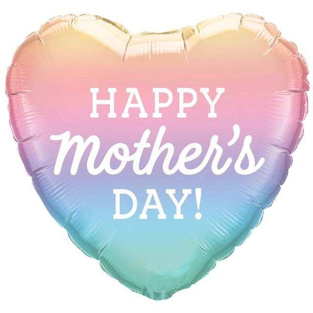 """Balon foliowy """"Happy Mothers Day - Dzień Matki"""", pastelowy, QUALATEX, 18"""" HRT"""