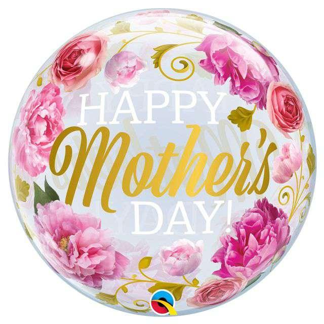 """Balon foliowy """"Happy Mothers Day - Dzień Matki Peonie"""", QUALATEX, 22"""" ORB"""