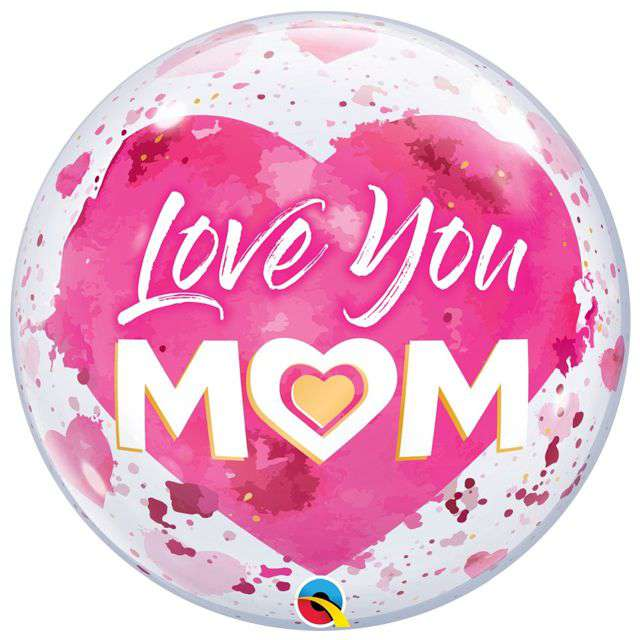 "Balon foliowy ""Love You Mom - Dzień Matki"", Qualatex Bubble, 22"" ORB"