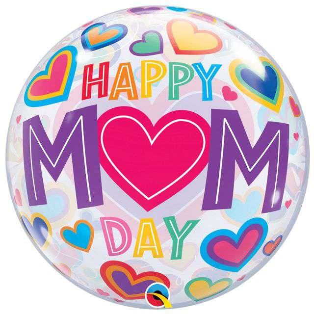 """Balon foliowy """"Happy Mom Day - Dzień Matki"""", Qualatex Bubbles, 22"""" ORB"""