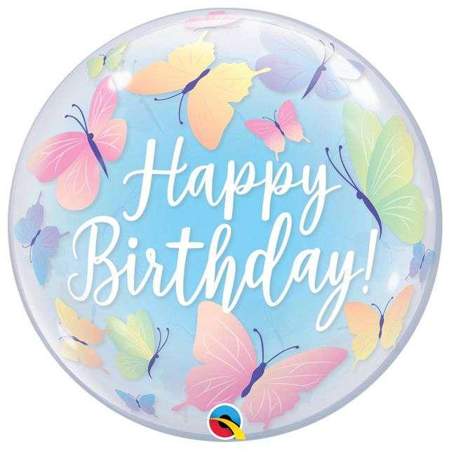 "Balon foliowy ""Happy Birthday Motylki"", Qualatex Bubbles, 22"" ORB"