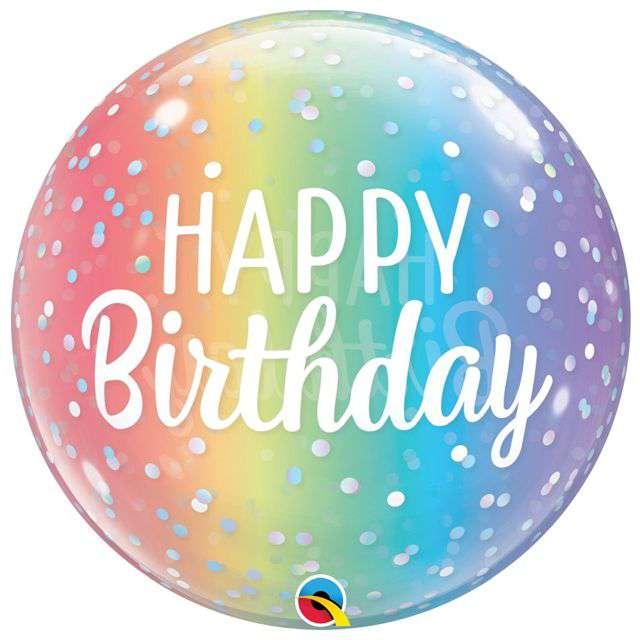 Balon foliowy Happy Birthday Tęcza Qualatex Bubbles 22 ORB