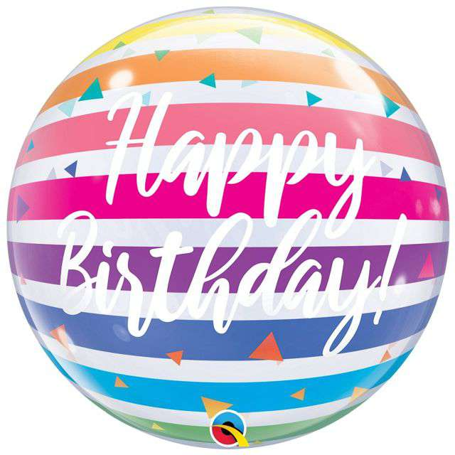 Balon foliowy Happy Birthday Tęczowe Paski Qualatex Bubbles 22 ORB